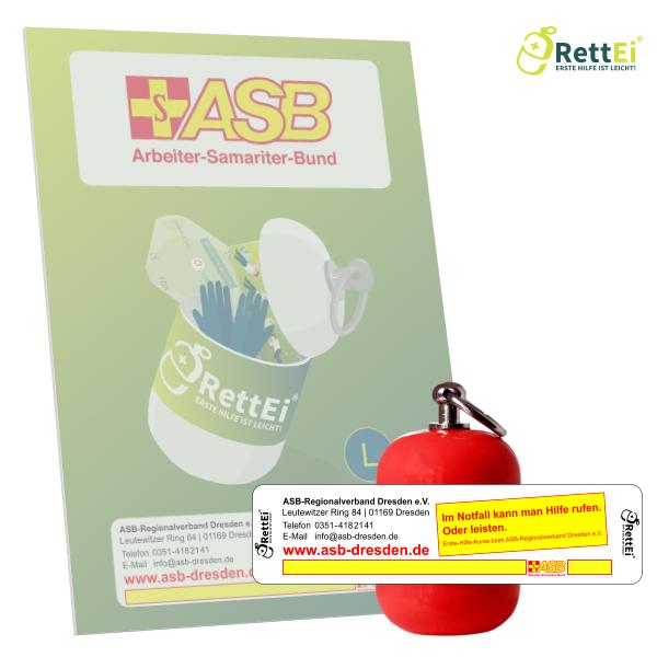 Erste-Hilfe Schlüsselanhänger mit Beatmungstuch als Beatmungshilfe als RettEi-ASB Dresden und Kamenz e.V.