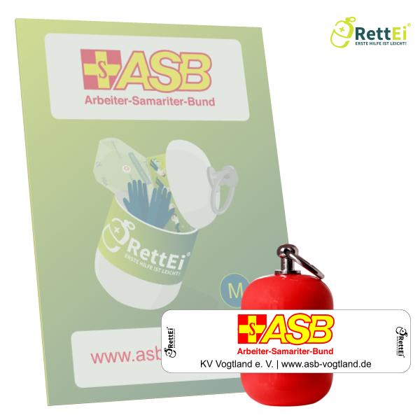 Erste-Hilfe Schlüsselanhänger mit Beatmungstuch als Beatmungshilfe als RettEi-ASB Vogtland