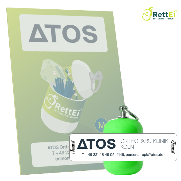 Erste-Hilfe Schlüsselanhänger mit Beatmungstuch als Beatmungshilfe als RettEi-ATOS