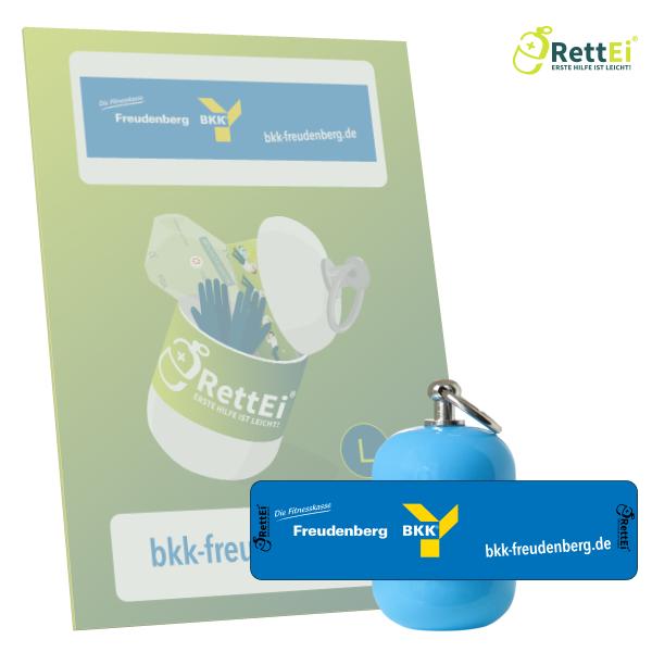 Erste-Hilfe Schlüsselanhänger mit Beatmungstuch als Beatmungshilfe als RettEi-bkk Freudenberg