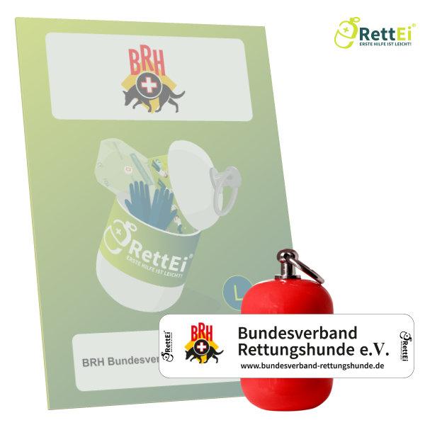 Erste-Hilfe Schlüsselanhänger mit Beatmungstuch als Beatmungshilfe als RettEi-BRh Bundesverband