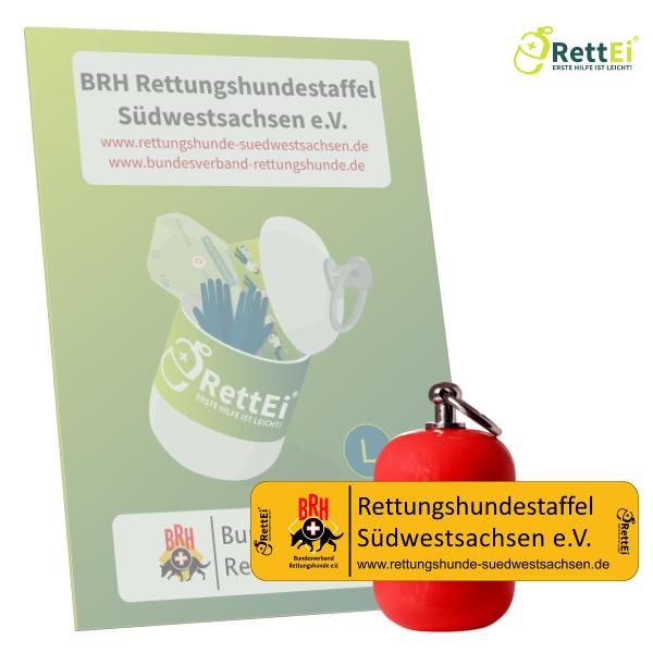 Erste-Hilfe Schlüsselanhänger mit Beatmungstuch als Beatmungshilfe als RettEi-BRH Südwestsachsen