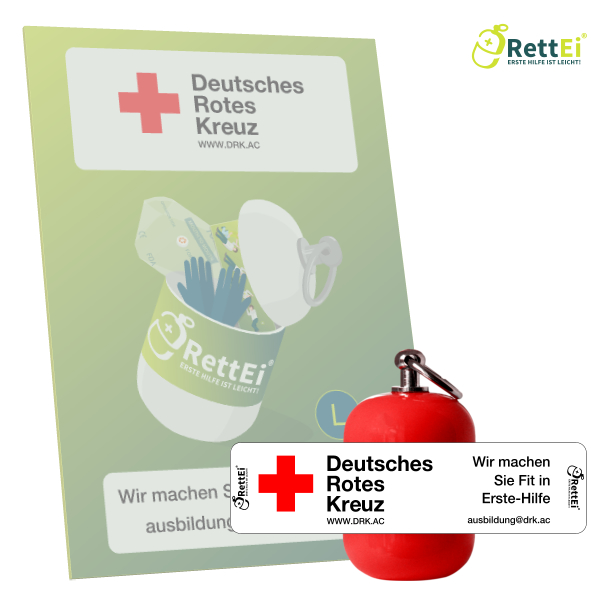 Erste-Hilfe Schlüsselanhänger mit Beatmungstuch als Beatmungshilfe als RettEi-DRK Aachen