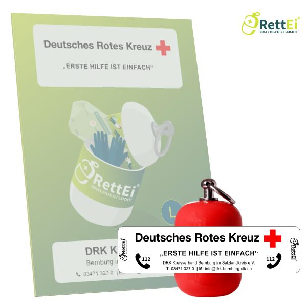 Erste-Hilfe Schlüsselanhänger mit Beatmungstuch als Beatmungshilfe als RettEi-DRK KV Bernburg