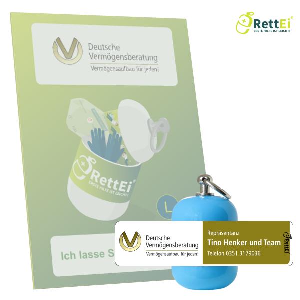 Erste-Hilfe Schlüsselanhänger mit Beatmungstuch als Beatmungshilfe als RettEi-Deutsche Vermögensberatung DVAG
