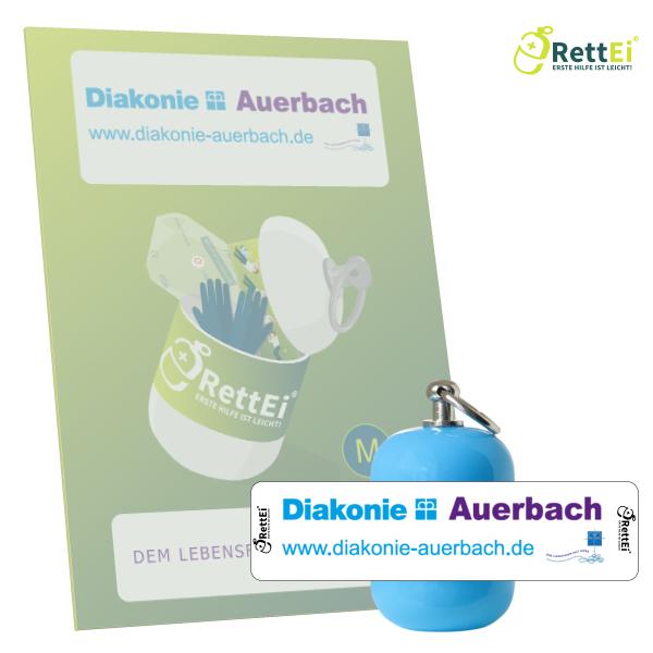 Erste-Hilfe Schlüsselanhänger mit Beatmungstuch als Beatmungshilfe als RettEi-Diakonie Auerbach