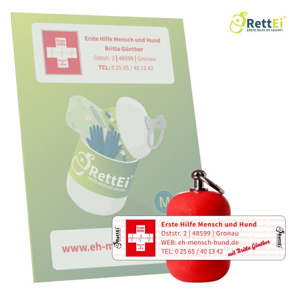 Erste-Hilfe Schlüsselanhänger mit Beatmungstuch als Beatmungshilfe als RettEi-Britta Günther