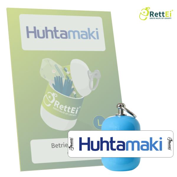Erste-Hilfe Schlüsselanhänger mit Beatmungstuch als Beatmungshilfe als RettEi-Hutamaki