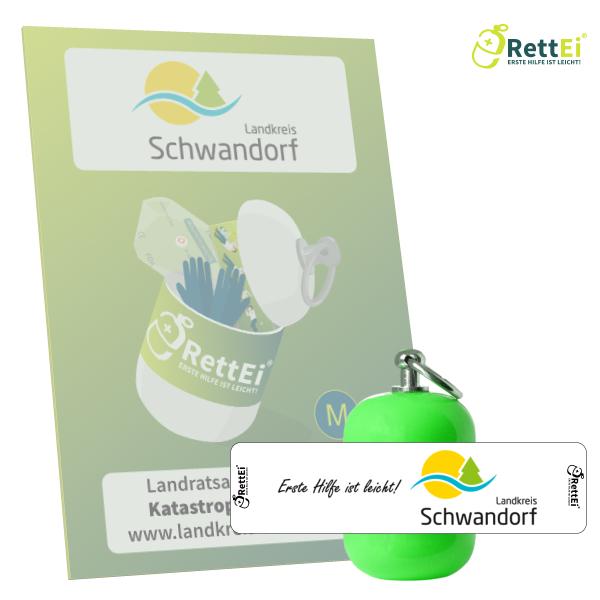 Erste-Hilfe Schlüsselanhänger mit Beatmungstuch als Beatmungshilfe als RettEi-Landratsamt Schwandorf