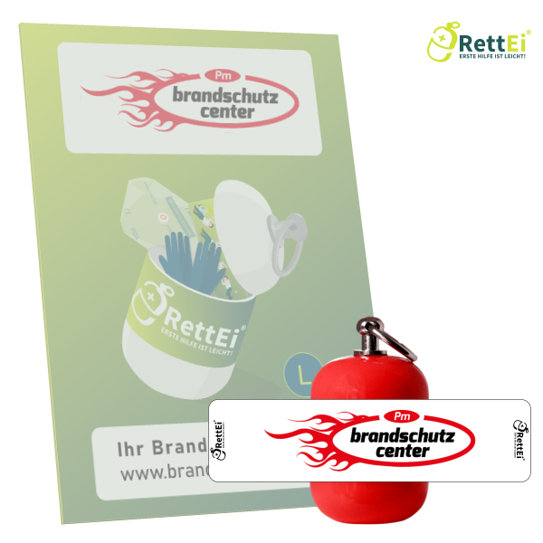 Erste-Hilfe Schlüsselanhänger mit Beatmungstuch als Beatmungshilfe als RettEi-PM Brandschutz Center