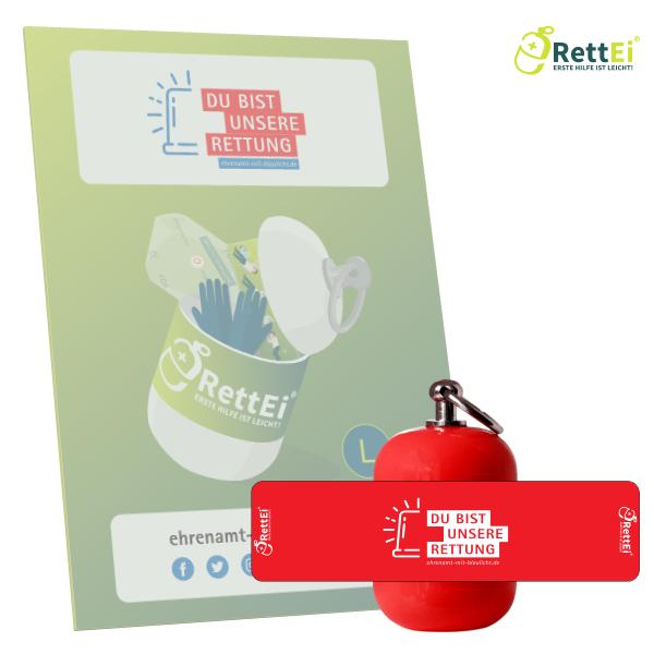 Erste-Hilfe Schlüsselanhänger mit Beatmungstuch als Beatmungshilfe als RettEi-Sächsische Staatsministerium
