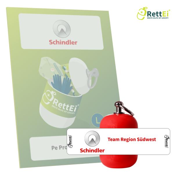 Erste-Hilfe Schlüsselanhänger mit Beatmungstuch als Beatmungshilfe als RettEi-Schindler AG