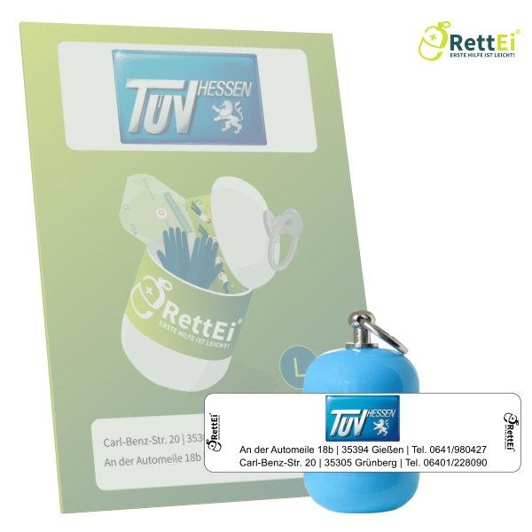 Erste-Hilfe Schlüsselanhänger mit Beatmungstuch als Beatmungshilfe als RettEi-TÜV-Hessen