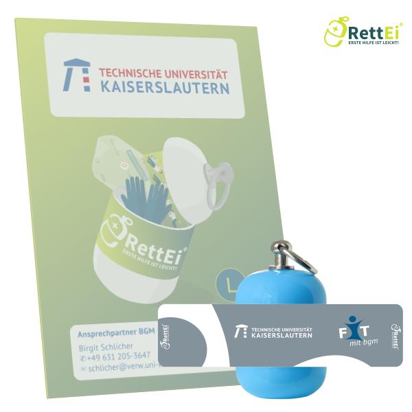 Erste-Hilfe Schlüsselanhänger mit Beatmungstuch als Beatmungshilfe als RettEi-Technische Universität