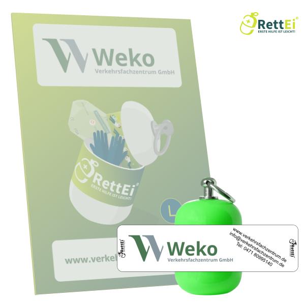 Erste-Hilfe Schlüsselanhänger mit Beatmungstuch als Beatmungshilfe als RettEi-WEKO
