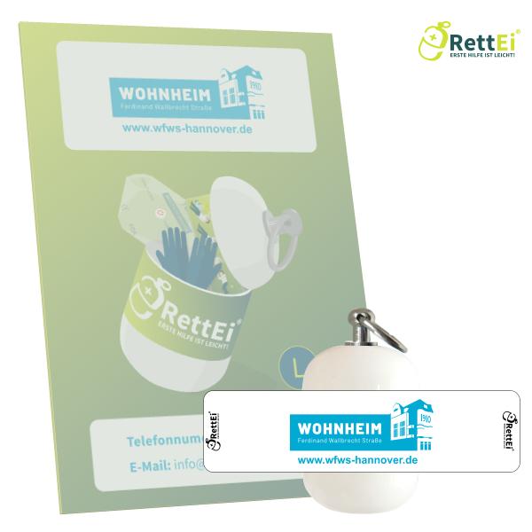 Erste-Hilfe Schlüsselanhänger mit Beatmungstuch als Beatmungshilfe als RettEi-Wohnheim