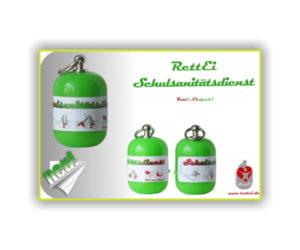Erste-Hilfe Schlüsselanhänger Schulsanitätsdienst mit grüner Kapselfarbe 11_2016