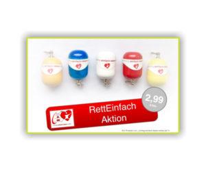 Erste-Hilfe Schlüsselanhänger in verschiedenen Farben von richtig-einfach-leben-retten von 2014 als Aktion heute RettEi