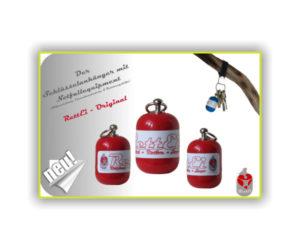 Erste-Schlüsselanhänger Werbeaktion RettEi-Original in rot von 03_2015