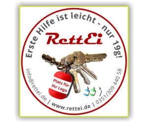 alter Aufkleber und Werbegrafik von RettEi bis 2018/2019