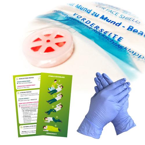 Notfall-Set: Beatmungshilfe, Beatmungsmaske, CPR-Maske, Beatmungsfolie mit Rückschlagventil zur Mund-zu-Mund Beatmung mit Anwendungshinweisen. Mundschutz mit Piktogrammen sowie Nitril-Einmalhandschuhe und Erste-Hilfe Anleitungen.