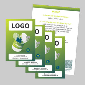 Firmenlogo auf Informationsflyer, RettEi als Streuartikel/Giveaway als hochwertige Werbeartikel