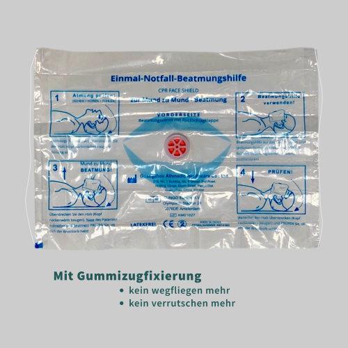 Beatmungshilfe, Beatmungsmaske, CPR-Maske, Beatmungsfolie als Mundschutz mit Rückschlagventil zur Mund-zu-Mund Beatmung mit Anwendungshinweisen und Piktogrammen