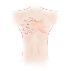 Herzdruckmassage Druckpunkt = Mitte der Brust