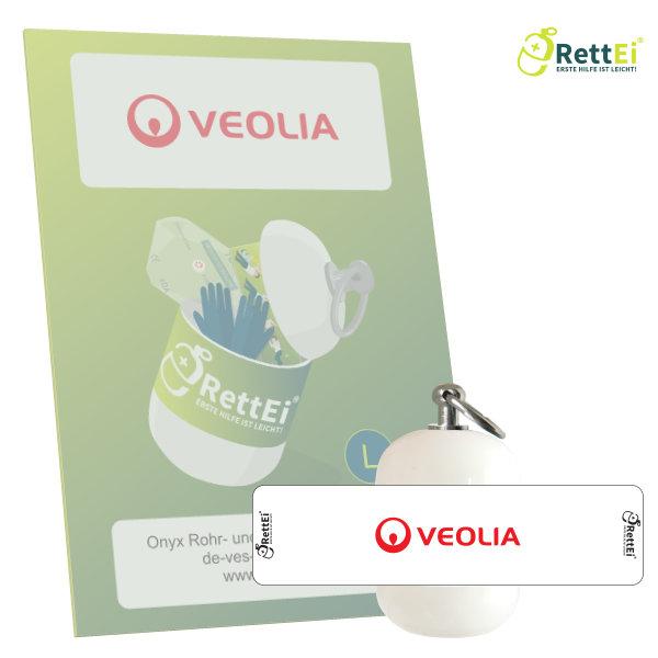 Erste Hilfe Schlüsselanhänger mit Beatmungstuch für VEOLIA