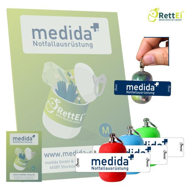 Erste Hilfe Schlüsselanhänger mit Beatmungstuch für Medida