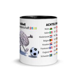 Motivtasse Fußball Europameisterschaft EM 2020 Achtelfinale in Schwarz