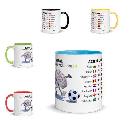 Motivtasse Fußball Europameisterschaft EM 2020 Achtelfinale in verschiedenen Farben