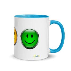 Motivtasse Ampel mit Gesicht als Smiley in Blau