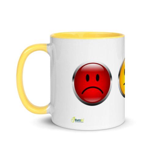 Motivtasse Ampel mit Gesicht als Smiley in Gelb