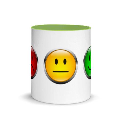 Motivtasse Ampel mit Gesicht als Smiley in Grün