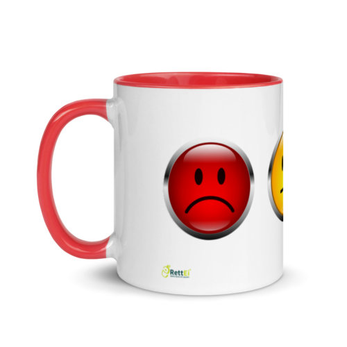Motivtasse Ampel mit Gesicht als Smiley in Rot