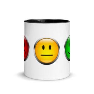 Motivtasse Ampel mit Gesicht als Smiley in Schwarz