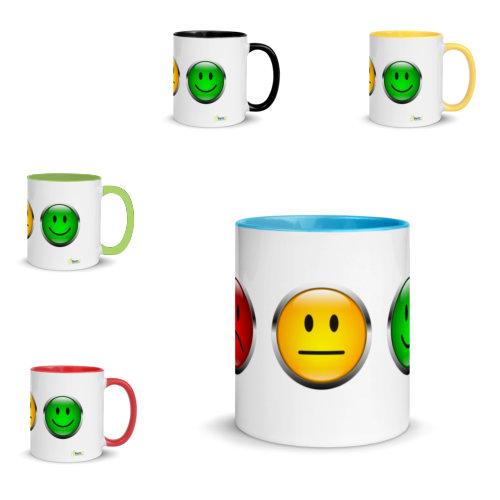 Motivtasse Ampel mit Gesicht als Smiley in unterschiedlichen Farbenvarianten