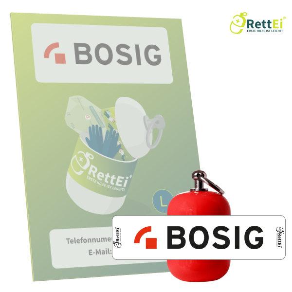 Erste-Hilfe Schlüsselanhänger mit Beatmungstuch als Beatmungshilfe von RettEi als Notfall-Set für Ersthelfer der BOSIG GmbH