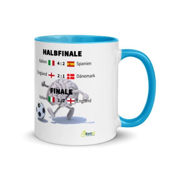 Fußball-Europameisterschaft EM 2020 mit allen Fußballergebnissen zum Viertelfinale, Halbfinale und Finale als Motivtasse in Blau