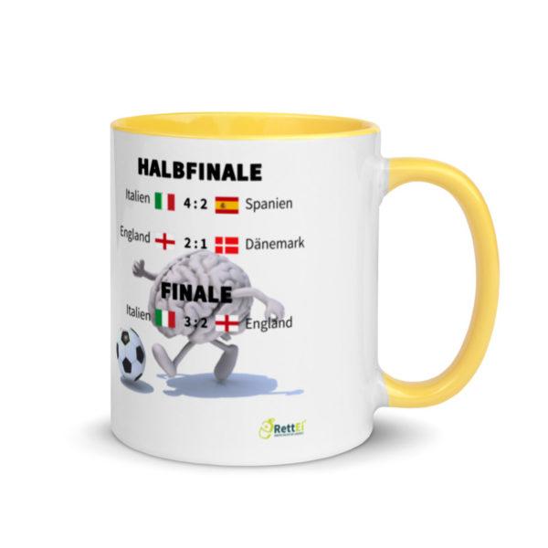 Fußball-Europameisterschaft EM 2020 mit allen Fußballergebnissen zum Viertelfinale, Halbfinale und Finale als Motivtasse in Gelb
