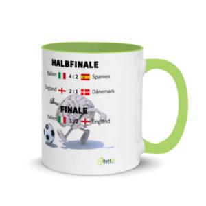 Fußball-Europameisterschaft EM 2020 mit allen Fußballergebnissen zum Viertelfinale, Halbfinale und Finale als Motivtasse in Grün