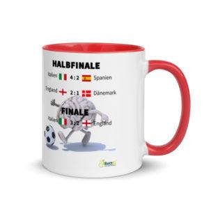 Fußball-Europameisterschaft EM 2020 mit allen Fußballergebnissen zum Viertelfinale, Halbfinale und Finale als Motivtasse in Rot