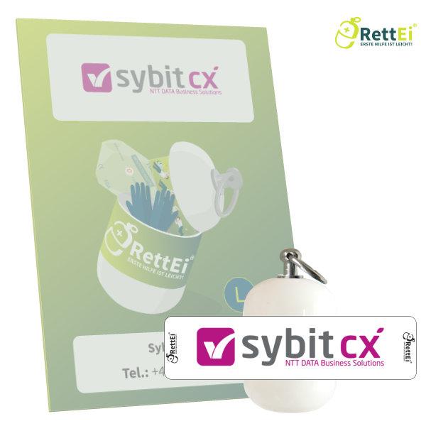 Erste Hilfe Schlüsselanhänger mit Beatmungstuch für die Sybit GmbH